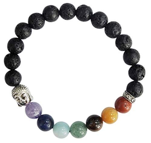 Pulsera de 7 chakras, piedra de lava, perlas redondas, 8 mm
