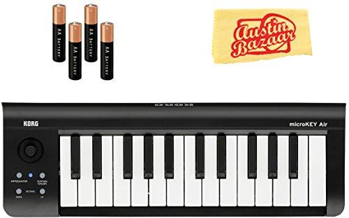 korg midi keyboards Korg microKEY Air 25-Key Wireless MIDI Controller Bundle with AA Batteries and Austin Bazaar Polishing Cloth