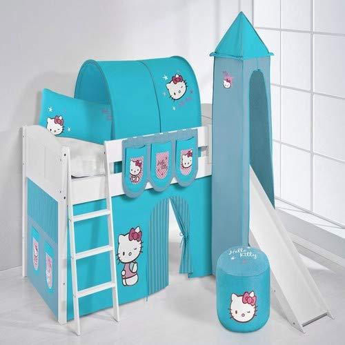 Lit surélevé ludique IDA 4106 90x200 cm Hello Kitty turquoise - Lit surélevé évolutif LILOKIDS - blanc laqué - avec tour, toboggan et rideaux