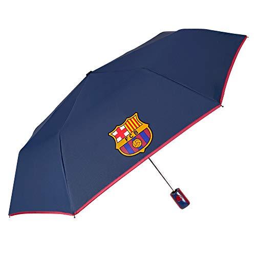 Regenschirm Automatik FC Barcelona - Blaugrana Taschenschirm mit Barça Logo - Schirm Winddicht Sturmfest - Offizielle Merchandise - Blau mit Rotem Rand - PFC FREE - Durchmesser 95 cm - Perletti