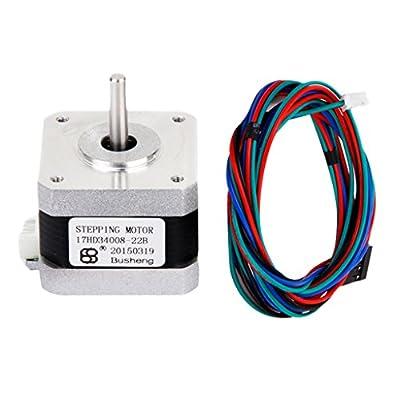 H HILABEE NEMA 17 Bipolar 300mN.m Stepper Motor 1.8Deg + Cable For 3D Printers CNC DIY
