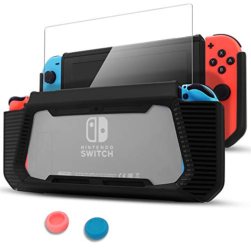 Pakesi Case for Nintendo Switch, Compatible with Nintendo Switch Cover Case with Tempered Glass Screen Protector(Rubber + PC Transparent Back Cover) and Two Thumb Grip for Nintendo Switch -Black