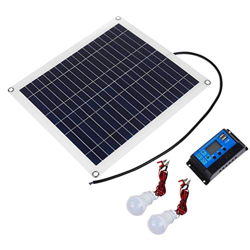 BESPORTBLE 1 Set Solar Power Panel Single Crystal Silicon Solar Panel Battery Maintainer with Sucker Solar Controller USB Interconnecting Device for Outdoor Supplies Black