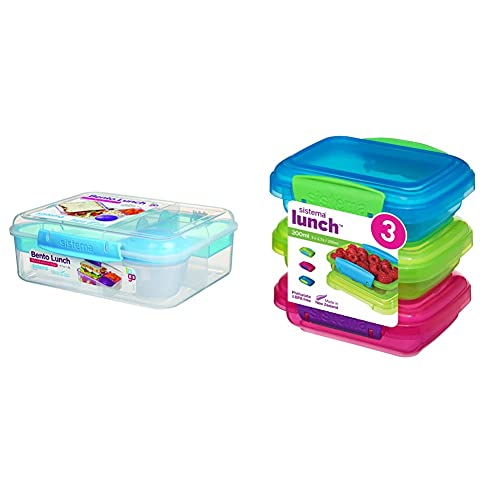 Sistema To Go Collection Bento Box Plastic Lunch and Food Storage Container, 55.7 Ounce, Multi Compartment (Color May Vary) & Lunch Collection Food storage containers, Blue, Green, Pink