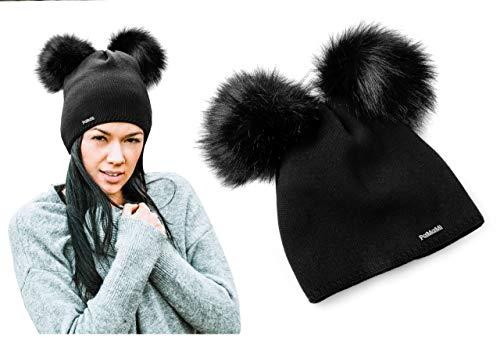 PaMaMi | Damen Wintermütze mit 2 Bommeln | 17504 | Slouch Beanie Winter Mütze | Warme Strickmütze | Bommelmütze mit Katzenohren (Schwarz)