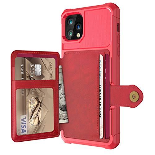 Serious Lamp Funda de piel sintética ultra delgada y suave de TPU [ranuras para tarjetas] Función de soporte magnético resistente a prueba de golpes para iPhone XS Max 12 11, rojo, 12 XII mini
