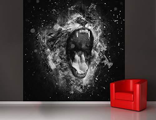 Fototapete selbstklebend Brüllender Löwe - schwarz weiß 150x150 cm