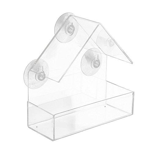 Futterhaus saugnapf Fenster Klarglasfenster mit Blick auf Bird Feeder hängende Absaugung,Vogelfutterhaus, Vogelfutterspender aus Acryl, Vogelhaus für Fensterscheibe (15 x 6.2 x 15cm)