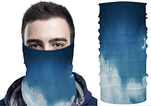 YOLIYANA Unisex Seamless Neck Gaiter Tube Scarf Headwear, Anoramic View of Dark Cloudy Skyscape at Night with New Month. Motorcycle Face Scarf for Women Men Face Scarf 19.6x9.8in №013687