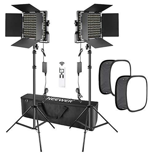 Neewer 2 Pack fortgeschrittene 2.4G 660 LED-Videoleuchte mit Softbox-Set dimmbares zweifarbiges LED-Paneel mit 2.4G Funk-Fernbedienung LCD-Bildschirm Softbox-Diffusor und Lichtstativ