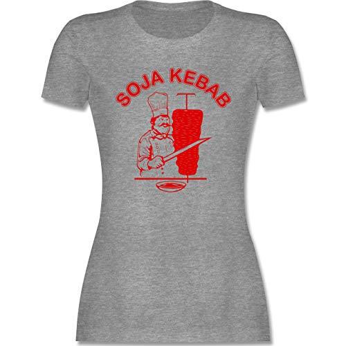 Statement - Soja Kebab Logo Vegan Vegetarisch - XL - Grau meliert - döner kebap Shirt Damen - L191 - Tailliertes Tshirt für Damen und Frauen T-Shirt