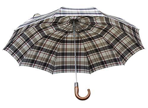 Klassieke rietjes vouwbare luifel paraplu – winddichte reisparaplu's met houten boef, compact stijlvol ontwerp met bijpassende mouw, lichtgewicht regenparaplu 510g, bordeaux, beige en zwart check