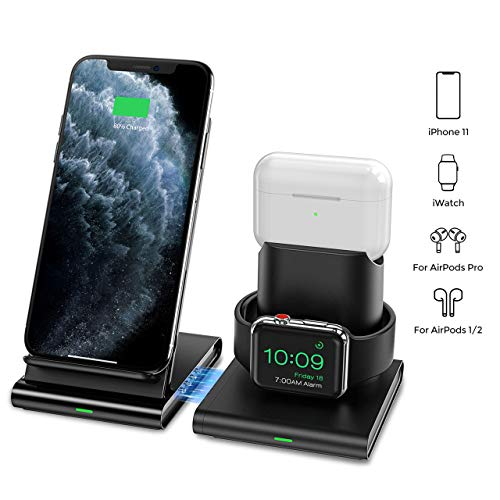 Seneo Wireless Charger, 3 in 1 Wireless Charging Station for Apple Watch, AirPods Pro/2, Detachable and Magnetic Wireless Charging Stand for iPhone 11...