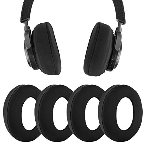Geekria Ice Silk Stretch Earphone Covers/Washable Sanitary Earcup, Fits S0NY WH-1000XM4, WH-1000XM3, Beats Studio 3.0 Wireless, Studio 2.0, and Most 8~11cm Over-Ear Headphones (2 Pairs, Black)
