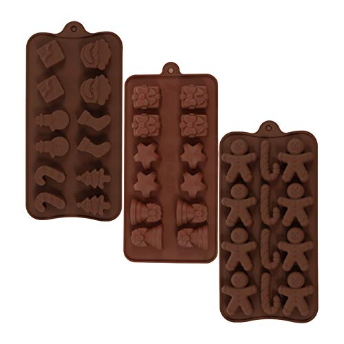 metagio 3 Stück Weihnachten Schokoladenformen Silikon Schokolade Formen Pralinenform Backformen zum Backen mit 11 Verschiedene Muster Silikon Candy Gummy Silikonform für Weihnachten/Party
