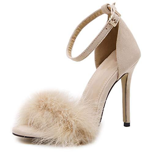 SERAPH Damen Open Toe Knöchelriemen Stiletto Sandalen Fluffy Feather Brautkleid High Heel Hochzeitsfeier Abendschuhe,Apricot,42 EU