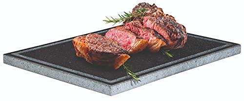 Generico Piedra volcánica Etna placa lijada 40 x 30 cm para horno y barbacoa, cocción de carne, pescado, verduras y pizza