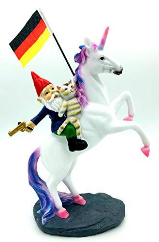 SEWAS Gartenzwerg auf Einhorn mit German Flag, handbemalt und wetterfest aus hochwertigem Kunstharz, Unicorn mit Zwerg und Katze Figur