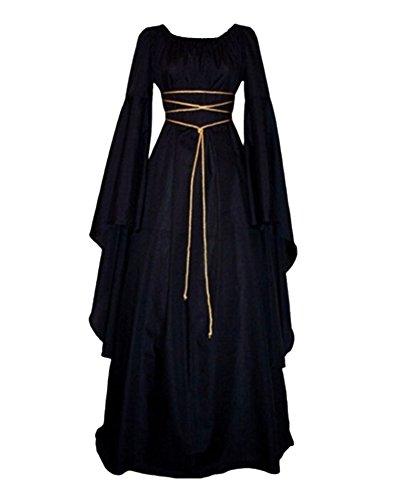 GladiolusA Ropa larga con capucha Vestidos de Halloween del partido de Cosplay del traje de la manga para Mujer Negro XXL