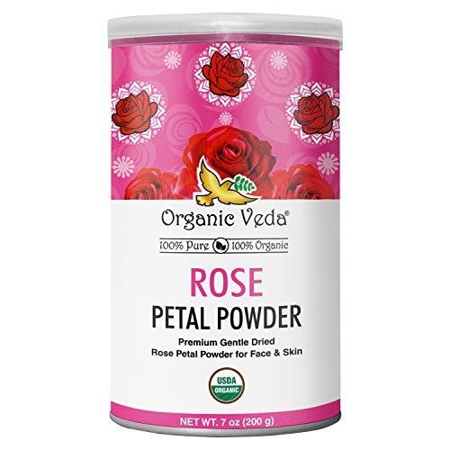 Organic Veda Rose Petal Powder 7 Ounce | USDA Certified Organic, Premium 100% Pure Edible Grade Red Rose Powder, Non GMO | All Natural Face Mask
