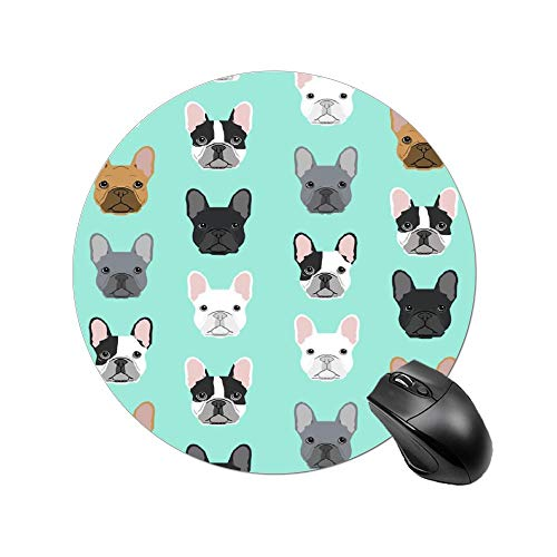 French Bulldog Sweet Dog Puppy Puppies Dog Mouse Pad for Kids Mini Mouse Mat Gaming Round Mousepad