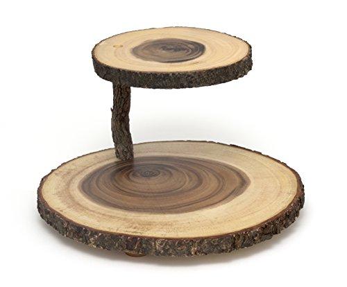 Lipper International Acacia 2-Tier Tree Bark Server for Meats, Cheeses, and Crackers,Acacia Tree Bark