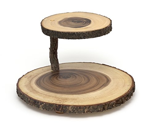 Lipper International Acacia 2-Tier Tree Bark Server for Meats, Cheeses, and Crackers,Acacia Tree Bark