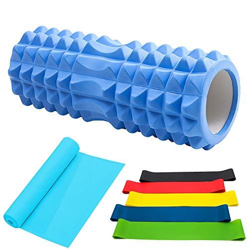 PINGO Faszienrolle/Fitnessbänder/Widerstandsbänder [5er Set] für Yoga Sport Fitness Plantarfasziitis und Reflexzonenmassage Muskelaufbau, Yoga, Crossfit, Gymnastik usw. (Spiel 8 IN 1)