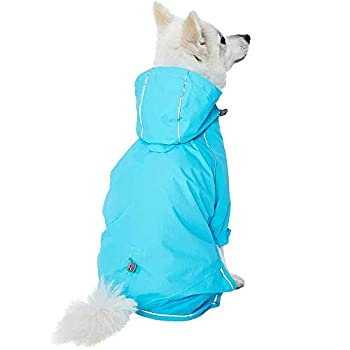 UMI. Essential - Manteau imperméable 56cm pour Chien Ultra-léger avec Capuche et Trou pour Harnais, Bleu, Vêtement de Pluie extérieur pour Chien, 2Pattes