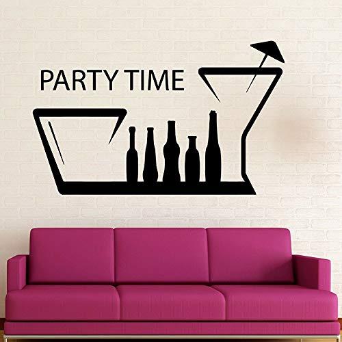 Pegatina de pared para tiempo de fiesta divertido club nocturno para beber botella de vino taza vinilo ventana calcomanía decoración de interiores Mural creativo