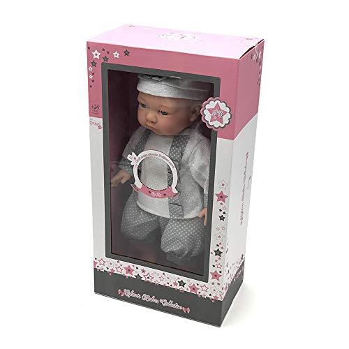 Tachan - Muñeca con Cuerpo Blando de 40 cm, Vestida con Traje de bebé Gris y 12 Sonidos Diferentes (781T00434)