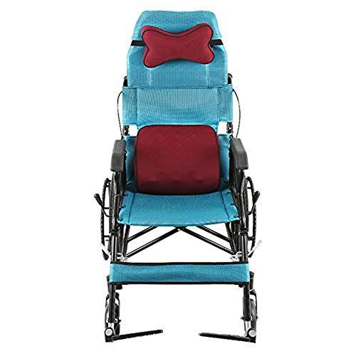 SXFYGYQ Rollstuhl mit hoher Rückenlehne, halb liegend, zusammenklappbar, multifunktional, solider Reifen, nicht müde, geeignet für ältere Menschen.