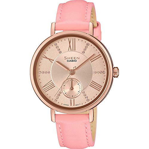 CASIO Damen Analog Quarz Uhr mit Leder Armband SHE-3066PGL-4AUEF