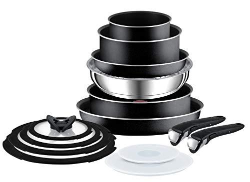Tefal L2009542 Ingenio Essential - Juego de ollas y sartenes (14 piezas), color negro