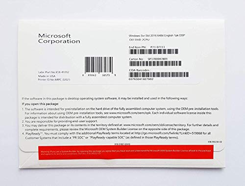 MS 1x Windows Server Standard 2019 64Bit Englisch 1pk DSP OEI DVD 16 Core