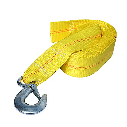 Seamander Boat Winch Strap with Hook and Safety Latch - Loop End - 2' x 20' -5,000lbs (Yellow(20ft))