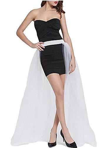 L'VOW Women' 4 Layers Overlay Long Tulle Dress Floor Length Tutu Skirt for Party Wedding (White)