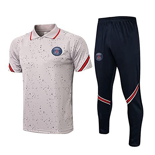 oein Camiseta de fútbol para hombre, suave y transpirable para entrenamiento, camiseta y pantalones cortos, camiseta de fútbol unisex (color: gris, talla XL)