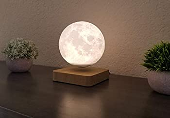 Levitating Moon Lamp - 6  Floating Moon Lamp with Wooden Color Base - 3D Printed Moonlight Lamp with 3 Color Modes - Magnetic Levitation Moon Light Ball Lamp - Floating Desk Decorations