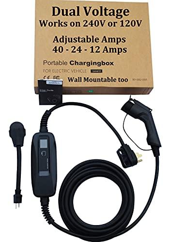 Couplago ,40 AMP (9.6 KW)- Dual Voltage -240V/120V, EV Charging Station - Level 2- EVSE- Charger for Electric Vehicles, You Set The AMPS- 40 AMP, 24 AMP or 12 AMP - 14-50R to 5-15P /120V Adapter