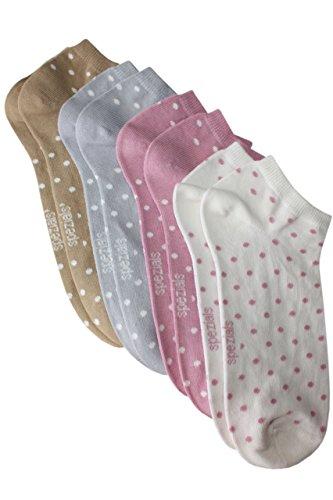 Weri Spezials Sneaker 4-er Set Punktchen in 4 Farben in Cr?me/Altrosa/Grau/Camel Gr.31-34 (7-8 Jahre)