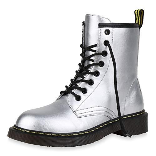 SCARPE VITA Damen Stiefeletten Worker Boots Profilsohle Stiefel Outdoor Schuhe 173513 Silber 41