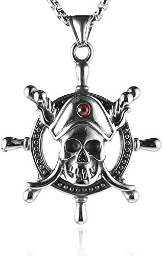 HAMANY Nautical Ship Wheel Stainlss stalen boot sturen hanger piraat schedel ketting