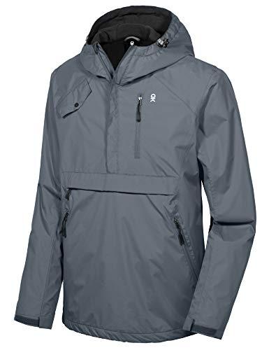 Little Donkey Andy Men's Hooded Anorak Pullover Rain Jacket Packable Raincoat with Fleece Lining, Waterproof & Windproof, Steel Gray S