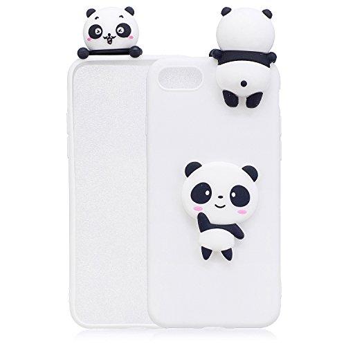 Handyhülle Für iPhone 7 8 3D Panda Tiere-Silikon Hülle Schutzhülle - Süße Karikatur Tier Muster Ultra Dünn Slim Weiche Flexible Gummi Bumper Case für Kinder Jungs Mädchen,Weiße Teddybär