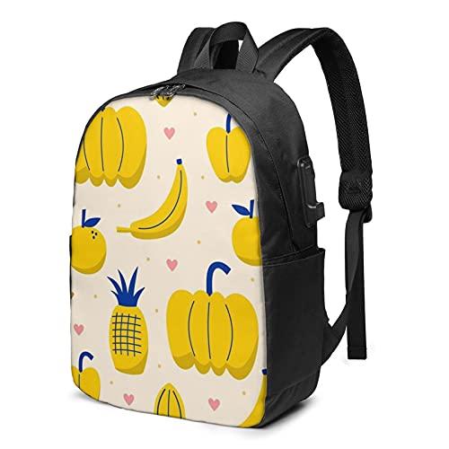 Mochila de fruta amarilla fresca, mochila para portátil de viaje con puerto de carga USB para hombres y mujeres de 17 pulgadas, ver imagen, Talla única,