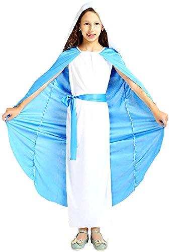 Maagd maria-kostuum - madonna - vermomming - carnaval - halloween - maskeraccessoires - meisje - lichtblauwe en witte kleur - maat xl - 9/10 jaar - cadeau-idee voor kerstmis en verjaardag