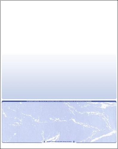 500 Blank Check Stock - Computer Laser Checks Check - on Bottom - Blue Marble