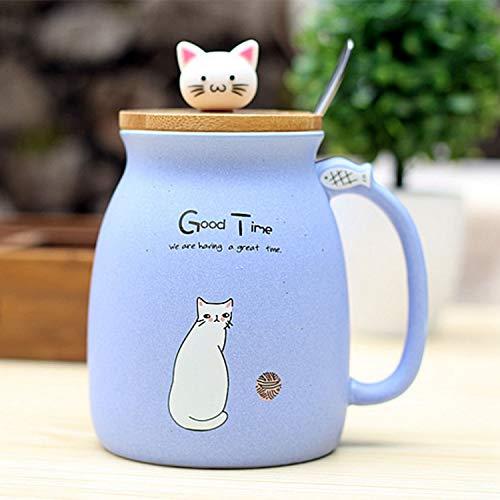 Gaoominy Nuevo Taza Resistente Al Calor de Gato Sesamo Dibujos Animados de Color con Tapa Taza de Ceramica de Cafe Leche del Gatito Taza para Ninos Regalos de Oficina(Azul)