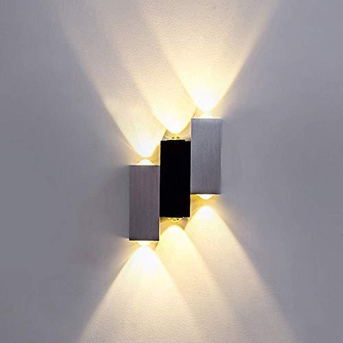 Lightess Moderne LED Wandleuchte Innen Up Down Wandlampe aus Aluminium Wandbeleuchtung für Wohnzimmer Schlafzimmer Flur Treppenhaus usw (Kaltweiß/Warmweiß/Bunt)
